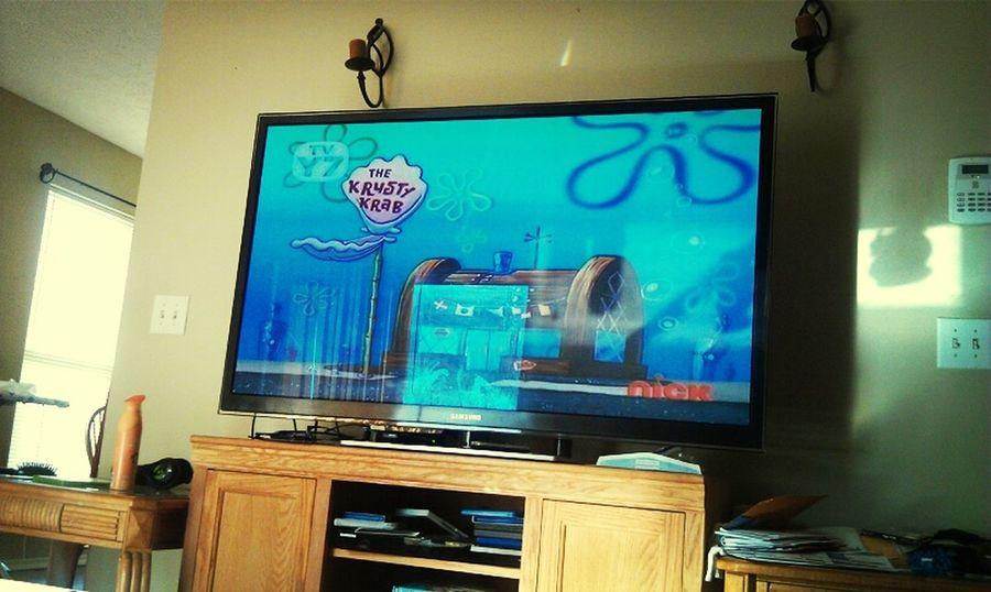 bored , watching spongebob