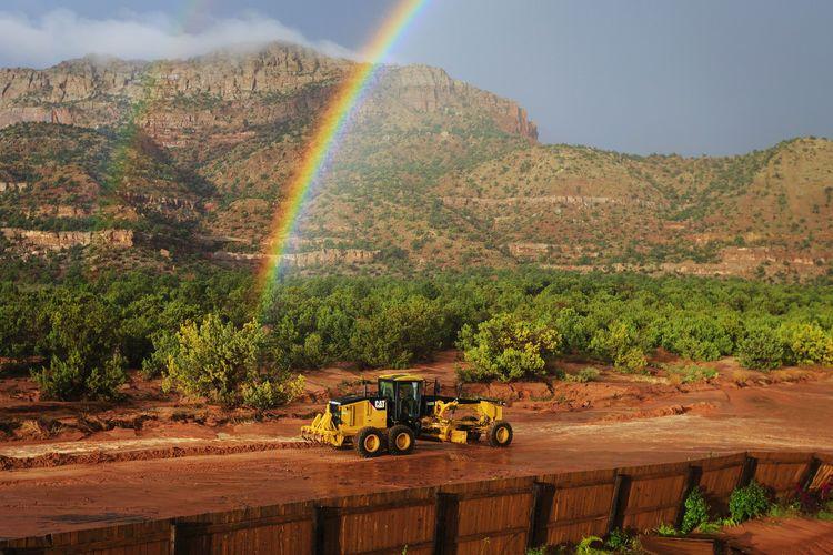 Rainbows Tractor Love Roadgraders Construction Trucks Tractors Utah Transportation Tractors Among Us Stormy Weather Best Of EyeEm Heavy Equipment CAT Tractors Rainbow Sky