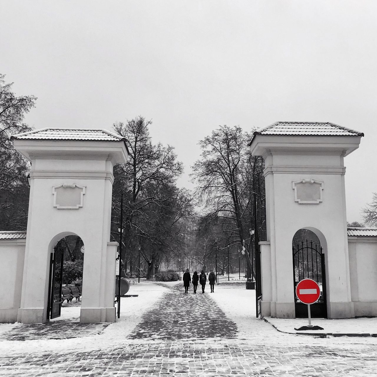 built structure, architecture, building exterior, day, tree, outdoors, arch, real people, snow, nature, clear sky, sky