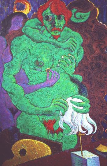 1 Green Girl Love Art Green Color Close-up Indoors  Painted Image No People Day