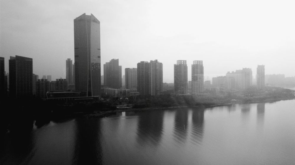 Urban 4 Filter Landscape Traveling In China Water Reflections River View Light And Shadow From The Rooftop Black And White Morning Mist Misty