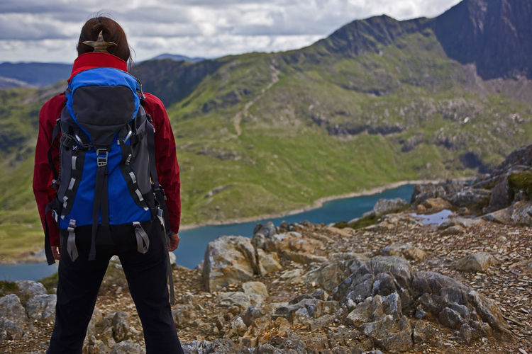 Rear view of man standing on mountain