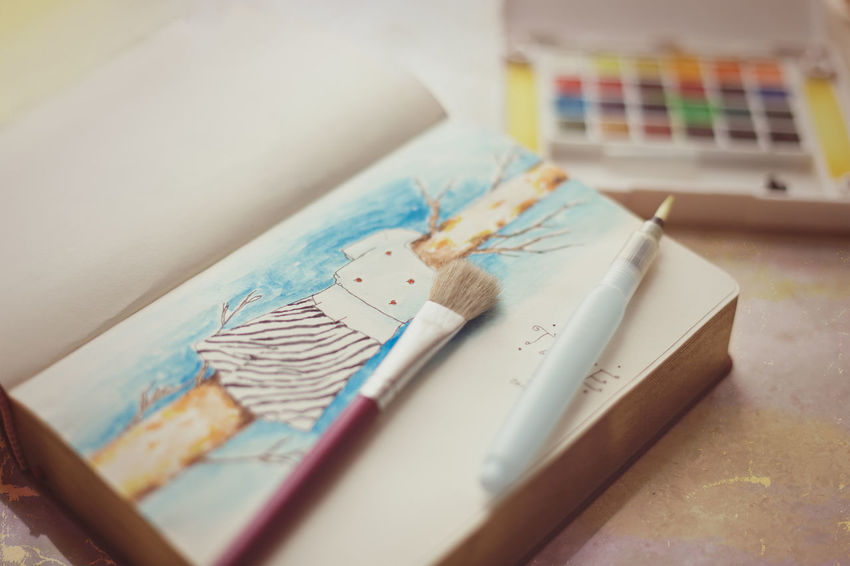 My watercolor sketchpad. Art Brush Close-up Conceptual Photography  Education Lieblingsteil Liftstye No People Paint Paper Sketch Sketch Pad Sketchbook Studio Table Watercolor Watercolor Painting Workplace Workspace