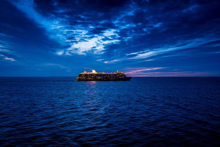 Meeting cruise ship Mein Schiff on Baltic Sea Baltic Sea Cruise Ship Mein Schiff Nacht Ostsee Beauty In Nature Blue Horizon Horizon Over Water Idyllic Kreuzfahrtschiff Night No People Outdoors Sea Tranquil Scene Water Waterfront