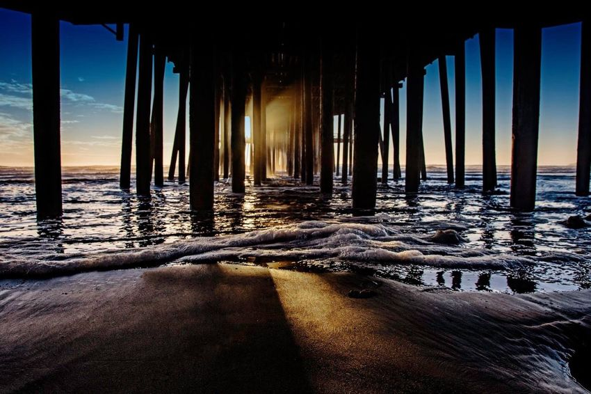 Pismo Beach pier. Sea Architectural Column Beach Sky Water Nature Sunset Outdoors Scenics Day No People Beauty In Nature Tranquil Scene Tourism California Love California Pismo Beach