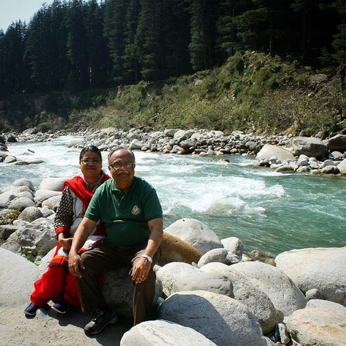 My Parents on the Banks of the River Beas ... Vacation India Punjab Wagah Shimla Manali Kulu Fall Autumn nature Kerala Instagood Iphonesia Photooftheday Instamood Picoftheday Bestoftheday Instadaily IGDaily Instagramhub Instacool Me Photo igdaily Himalaya trekking