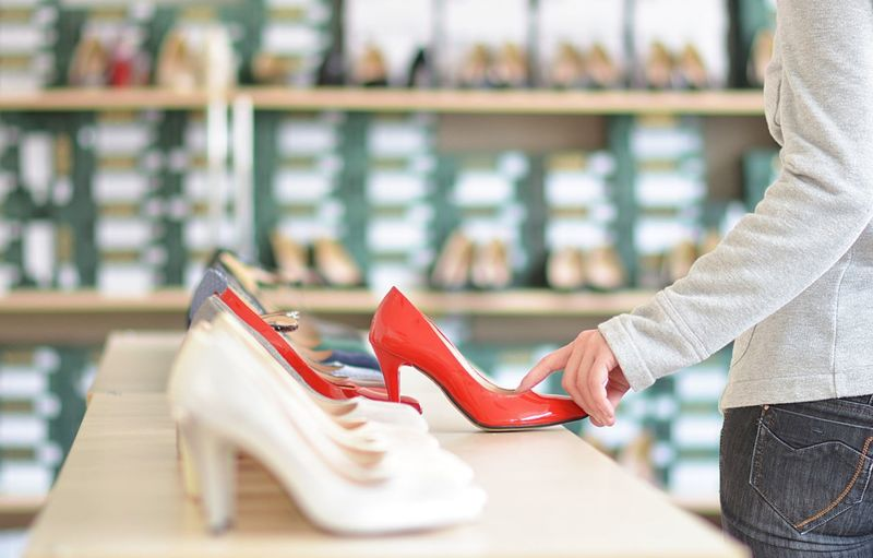 indoor store with ladies shoes Market Modern Adult Casual Clothing Consumerism Fashion Focus On Foreground High Heels Human Body Part Indoors  Lifestyles Luxury Retail  Retail Store Sale Shoes Sales Manager Sales Woman Selective Focus Shoe Shoping Shopping Store Women