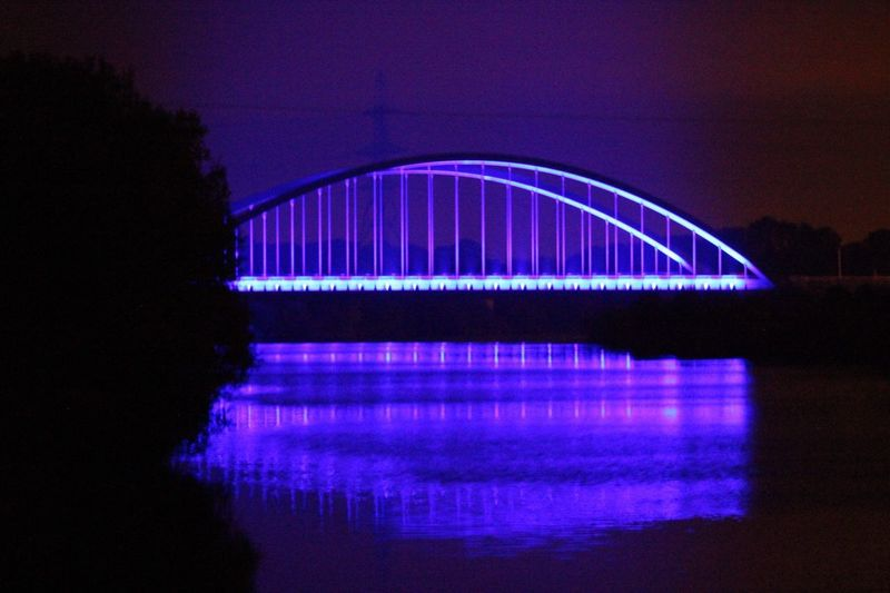 Big blue bridge. Toomebridge. No filter or edits. Taken on a crisp autumn night. County Antrim Bridge Over Water Arch Bridge River Bann Lough Neagh Big Blue Bridge Bridge Toomebridge The Architect - 2018 EyeEm Awards