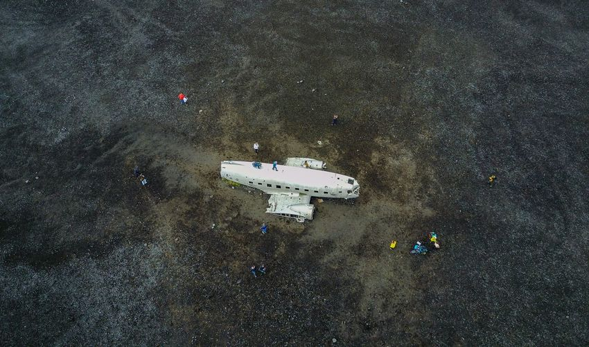 High Angle View Of Abandoned Airplane On Field