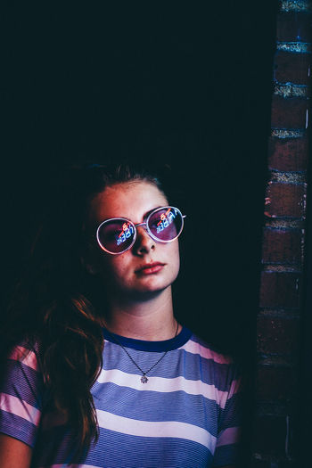 Neon Life Sunglasses Young Adult Adult Adults Only Fashion One Person Portrait People Only Women One Woman Only One Young Woman Only Young Women Nightlife Lifestyles Youth Culture Indoors  Nightclub Black Background Real People Day EyeEm Selects BestofEyeEm Close-up Illuminated