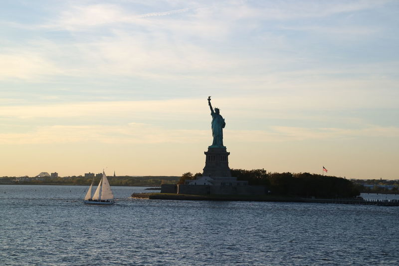 Day Harbor Hudson River New York City Outdoors Sculpture Sky Statue Of Liberty Sunset Travel Travel Destinations Water