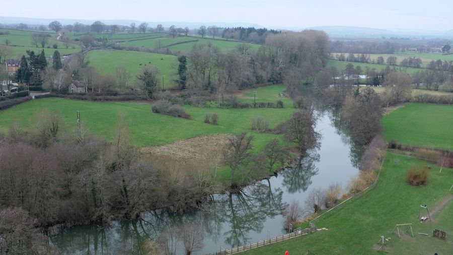 High angle view of river amidst trees on field