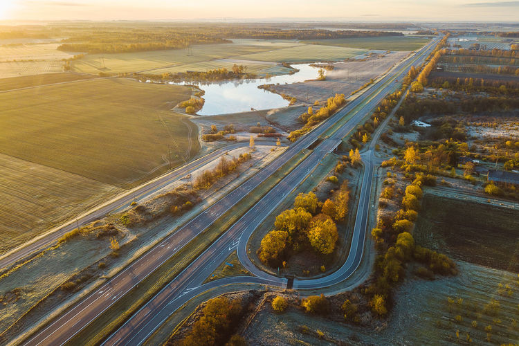 Fog over the highway Autumn Morning Drone  Fall Beauty Aerial Aerial View Autumn Fog Bridge - Man Made Structure Day Early Morning High Angle View Industry Landscape Mavic Mavic Pro Nature No People Outdoors River Road Scenics Sky Sunrise Transportation Travel Destinations Water