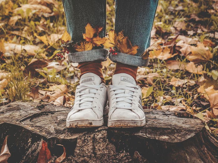50 Ways Of Seeing: Gratitude Low Section Shoes Leaves Casual Clothing Nature Autumn Standing Jeans Sock Leaf Feet Fall Colors Fall Good Vibes Leisure Activity Outdoors Faceless Denim Warm Colors Socks Legs Sneakers