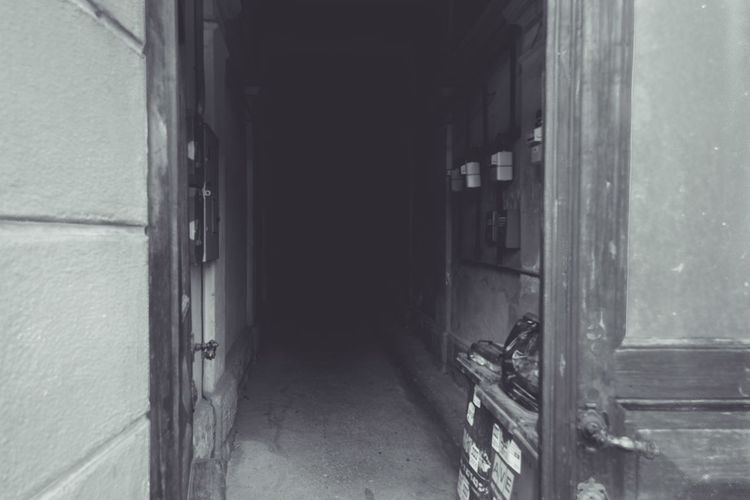 Architecture Black And White Blackandwhite Building Exterior Built Structure Corridor Dark Day Entrance Hall Long Mystery Narrow No People Passageway The Way Forward