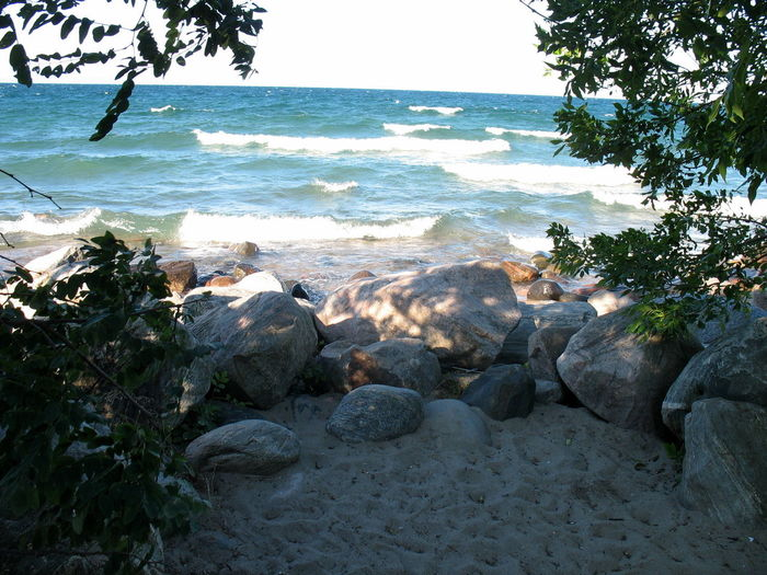 I Must Get Down To The Sea Again ... [SP] ~ Beach Beauty In Nature Canada Day Horizon Over Water Nature No People Nova Scotia Outdoors Rock - Object Sand Sea Serenity Shade Shore Sky Tranquility Tree Water Wave Waves And Rocks Waves, Ocean, Nature Ontario Erieau