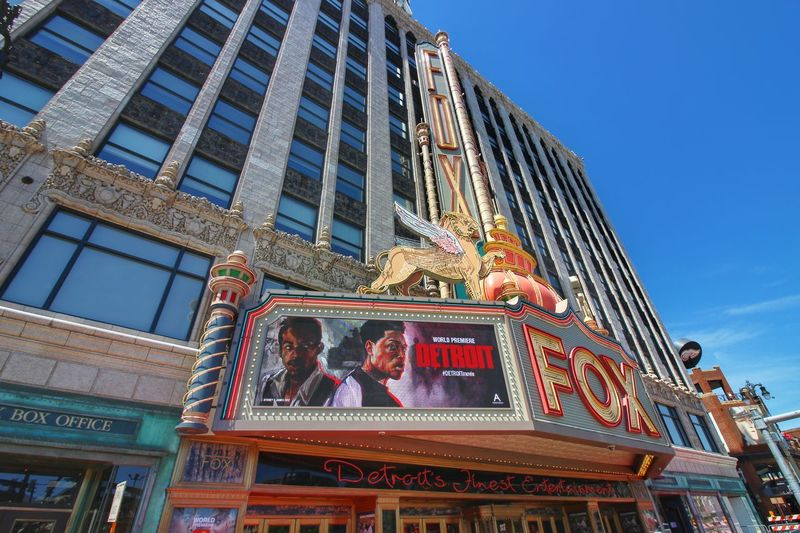 Architecture Tourism History Arts Culture And Entertainment Travel Destinations Multi Colored City Outdoors No People Neon World Premiere Detroit Movie Marquee Fox Theatre Detroit Detroit, MI Skyscraper SkyLookingup Architecture Neon World Premiere Detroit Movie Marquee Fox Theatre Detroit Detroit, MI Outdoors No People Building Exterior Cloud - Sky Cityscape EyeEmNewHere Wide Angle Neon Life