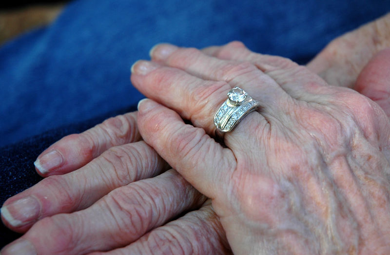 Cropped Hand Of Senior Woman Wearing Ring