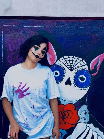 Día de muertos One Person Front View Art And Craft Leisure Activity Casual Clothing Real People Lifestyles Wall - Building Feature Creativity Young Women Representation Women First Eyeem Photo