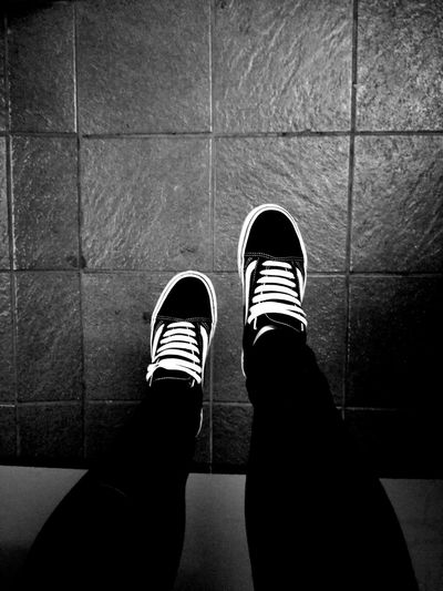 Shoe One Person Close-up Real People Heights Vansoffthewall Skate Teen Canvas Shoe Human Body Part Human Leg Indoors  Low Section Legs And Shoes Blackandwhite Perspective My Shoes EyeEmNewHere Vision Young Wild And Free(; Freedom Peace View From Above My Perspective Tiled Floor