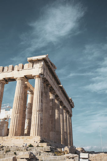 Acropolis Athens Greece Acropolis Architecture Built Structure Sky Cloud - Sky Ancient History The Past Architectural Column Low Angle View Old Ruin Nature Ancient Civilization Travel Destinations Building Exterior Travel Day Old No People Ruined Archaeology Outdoors Deterioration