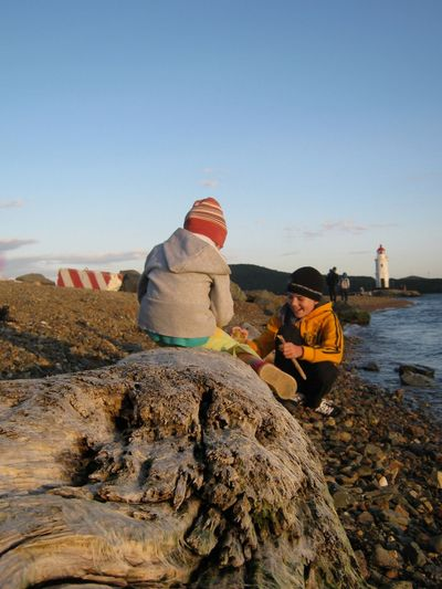 Rear view of girl sitting on driftwood by smiling brother playing at beach
