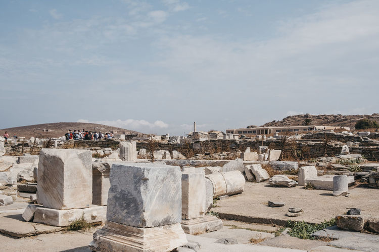 Ruins of agora on the island of delos, greece, an archaeological site near mykonos.