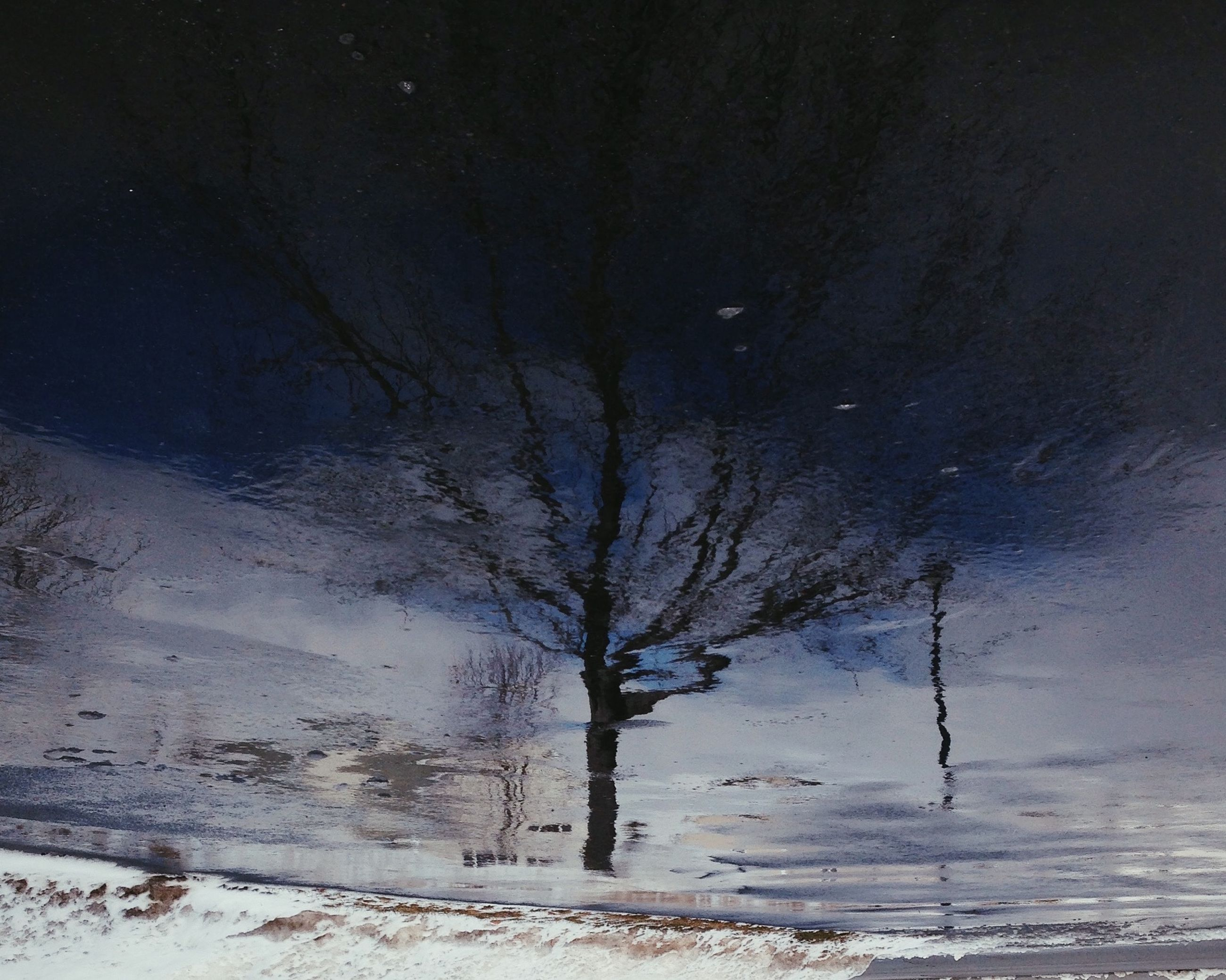 cold temperature, winter, snow, bare tree, tranquility, tree, tranquil scene, weather, branch, nature, beauty in nature, scenics, season, frozen, sky, landscape, silhouette, non-urban scene, covering, outdoors