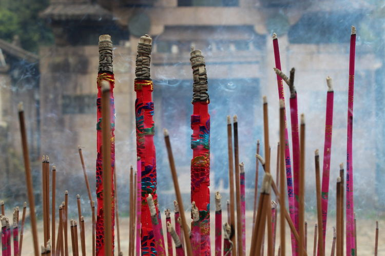 Incenses burning outside temple