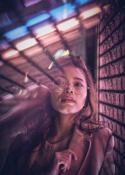 Model: Oleander Omega - Instagram: @oleandrega City Nights Cocktail London Portrait Of A Woman Reflection Adult Close-up Day Eyeglasses  Front View Neon One Person Outdoors People Portrait Real People Red Light Young Adult Young Women The Portraitist - 2018 EyeEm Awards