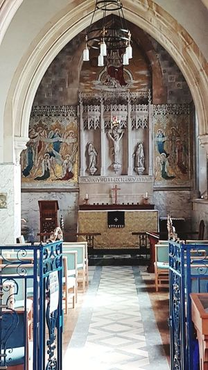 Indoors  Religion Place Of Worship Arch No People Fresco Pew Architecture Day Symbolic  St Martin's Church Close-up History Wood Stonework Architecture