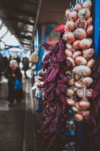 Garlic and chilis #Bulgaria #City #Sofía #cityscapes #europe #travel #travelling #travelphotography #urban #urban Scene #urbanexploration  #urbanphotography Chili Pepper Garlic Chili  Day Focus On Foreground Food Freshness Garlic Bulb Hanging Healthy Eating Market No People Retail