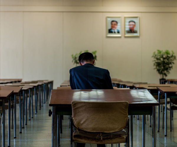 Man studying in
