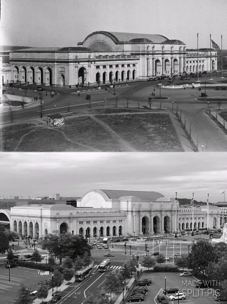 Union Station 1907 and 2017 Land Vehicle Transportation Car Arch Building Exterior Built Structure Architecture Blackandwhite Bnw