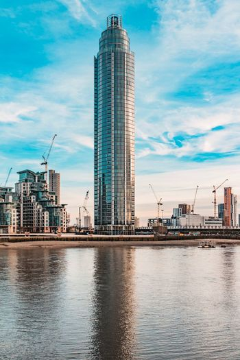 London Architecture Sky Built Structure Skyscraper Cloud - Sky Building Exterior Development Crane - Construction Machinery Reflection Waterfront Water Modern City Day Travel Destinations No People Outdoors Urban Skyline London