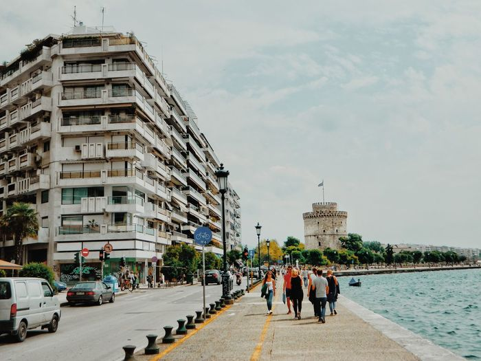 Promenade by the sea in thessaloniki.