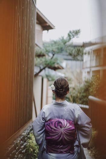 The back view of the kimono woman