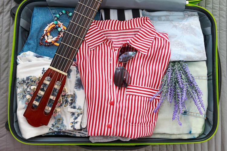 Pack Vacation Rest Summer Time  Hiking Guitar Music Girl Voyage Flowers Sunglasses Trip Bag Packing Tourism Travel Suitcase Flat Lay Overhead Top View Let's Go. Together.