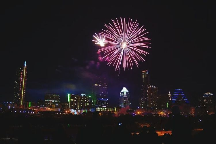New Year's- Downtown Austin Tx. City Lights City Skyline Cityscapes At Night Fireworks Architecture Night Austin TX No People Cityscape Photography Night Photography Texas Capitol Illuminated Outdoors Photograpghy  Dark Where The Wild Things Are Downtown Texas Rocks Follow Me Celebration Notes From The Underground Still Smokin Loud Late Night Flights Celebrate The Architect- 2016 Eyeem Awards Cities At Night Texas Skies