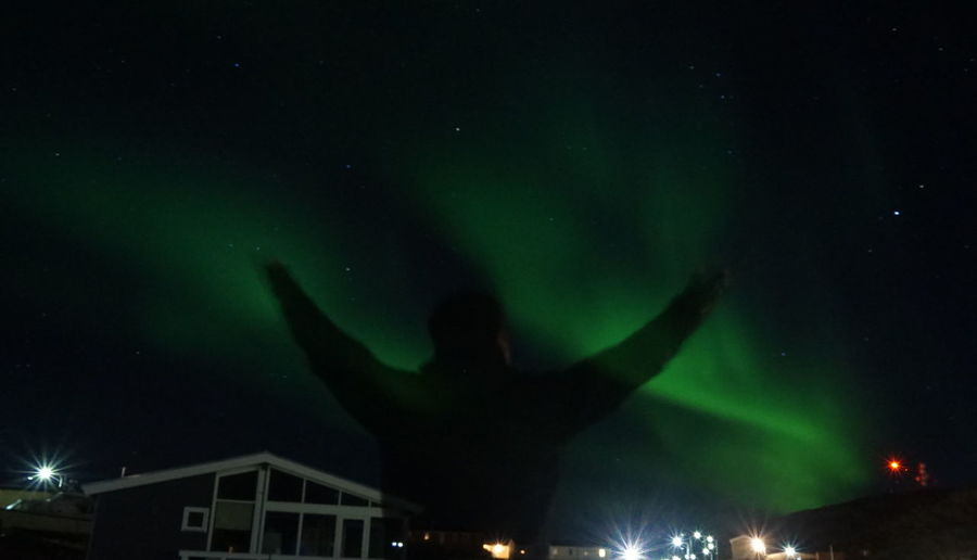 orchestrating the northern lights Aurora Aurora Borealis EyeEm Best Shots EyeEm Best Shots - Nature EyeEm Nature Lover Ilulissat Nature Nature Photography Northern Lights That's Me The Real Greenland This Is Greenland Nature Nature_collection Night Outdoors Sky Unrecognizable Person