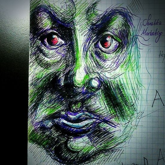 crusty.. Ballpointpen Doodle Coloured Sketch Sketching Illustration Redeyes Art Comic