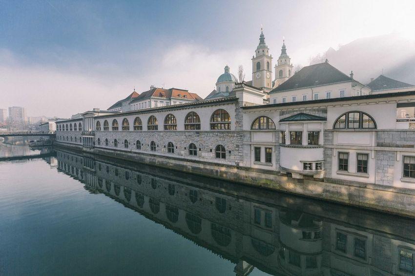 Europe Trip Ljubljana Slovenia Travel Fog Foggy Day Foggy Morning Reflections In The Water River Travel Destinations