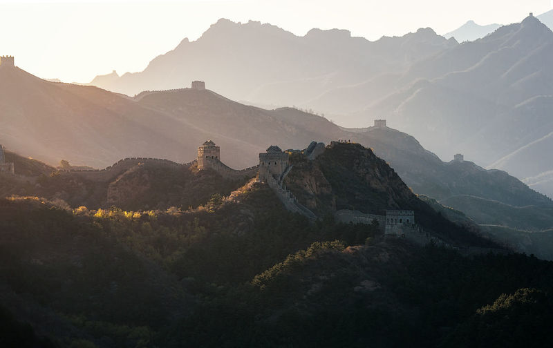 Great wall of china on mountain