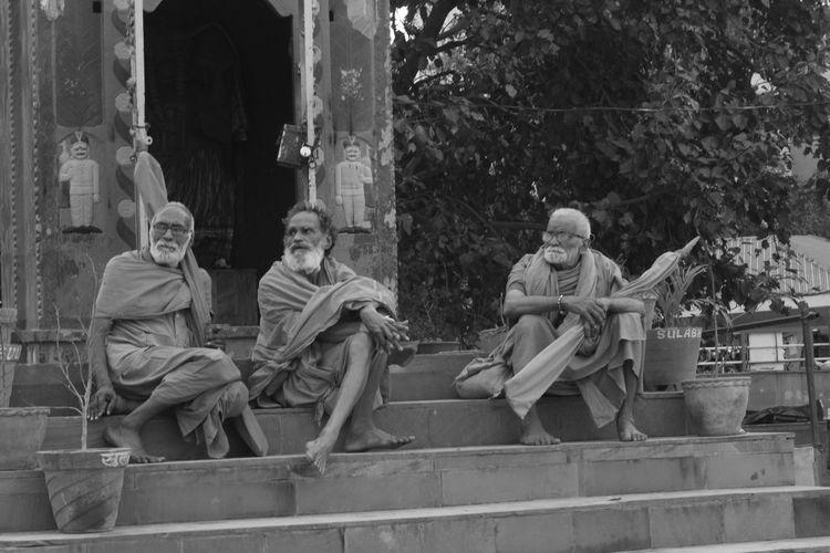 Benaras Bhakts Blackandwhite Ganga Ghat, Kashi