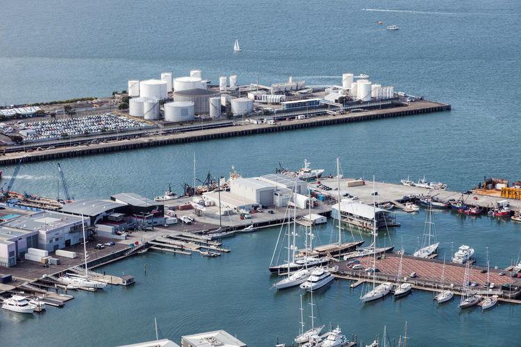 High angle view of harbor by city