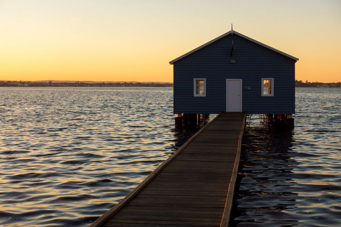 Sunrise at a boat shed. Architecture Australia Beauty In Nature Blue Shed Clear Sky Crawley Edge Day Horizon Over Water Nature No People Outdoors Perth Sea Shed Sky Sunrise Sunset Tranquility Water Wood - Material