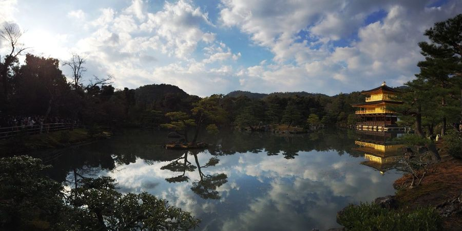Reflection Water Tranquil Scene Scenics Calm Built Structure Tree Lake Sky Tranquility Waterfront Building Exterior Architecture Cloud Majestic Cloud - Sky Nature Standing Water Day Solitude Panorama Japan Kyoto