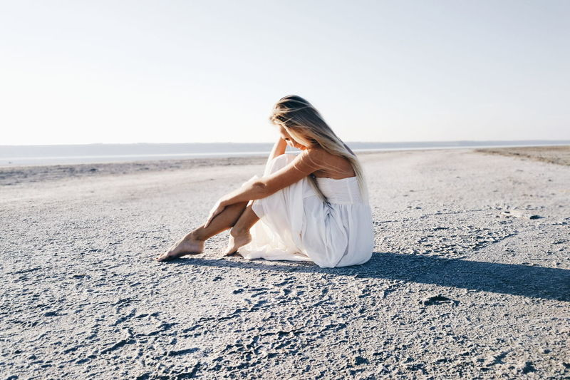 Dreaming Young Women Wedding Dress Sea Full Length Beach Sand Dune Women Sand Summer Clear Sky Coast EyeEmNewHere