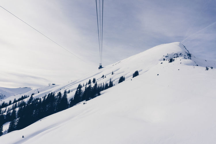 Beauty In Nature Cable Cold Temperature Day Landscape Mountain Nature No People Outdoors Overhead Cable Car Scenics Ski Lift Sky Snow Snowcapped Mountain Tranquil Scene Tranquility Weather White Color Winter