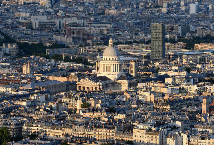 An aerial shot of paris with pantheon in sight